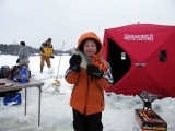 K&E Tackle Bum Lake ice fishing get together 02062011-083 young angler with big crappie