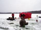 K&E Tackle Bum Lake ice fishing get together 02062011-060 near the big shanty