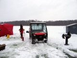 K&E Tackle Bum Lake ice fishing get together 02062011-061 shanties and buggie