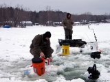 K&E Tackle Bum Lake ice fishing get together 02062011-068 two anglers ice fish