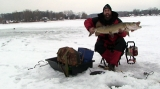 Keith Stanton with a big muskie caught through the ice