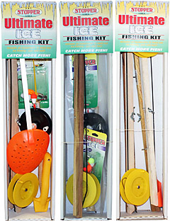 Three different complete ice fishing kits from K & E Stopper Lures