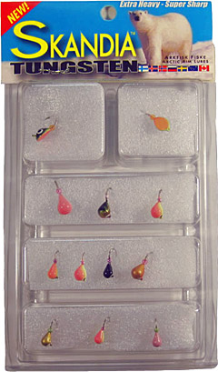 11 piece Skandia Tungsten Jig kit featuring all your favorite sizes and colors, and super sharp white nickel hooks