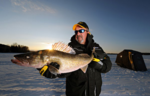 Large walleye caught while ice fishing. Credit Jack Payne