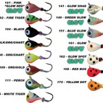 Skandia Pelkie Tungsten ice fishing jigs with hot new glow colors