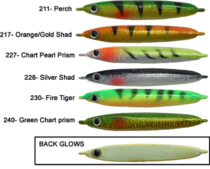 K&E Stopper Lures Smelt Stick Color Chart including Bright Glow Finish on the back of each lure