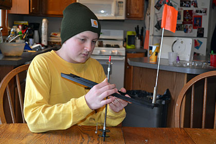 Brendan Herbert Tip Up Setup - step 1 rigging your tip for ice fishing.
