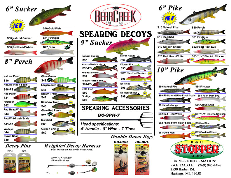 Bear Creek Spearing Decoys styles, colors and accessories chart October 2013