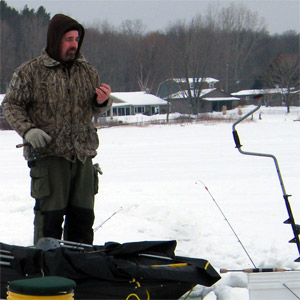 Ice fishing with a noodle rod allows an angler to follow the fish more efficiently
