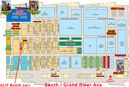 2015 Ultimate Fishing Show Detroit floorplan including the truckload ice fishing shanty sale!