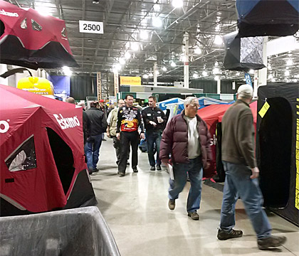 Kevin VanDam browses through the Ultimate Fishing Show Detroit shanty truckload sale going on now through Sunday January 11th at the Suburban Collection Showplace in Novi, Michigan.