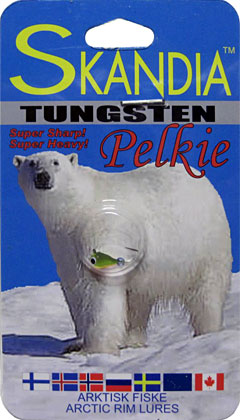 Skandia Pelkie Tungsten Ice Jigs are great for last ice finesse ice fishing due to their heavier weight in a compact size