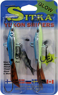 Sitka Yukon Shiners come two per pack in 5 colors and sizes, all with glow bellies.