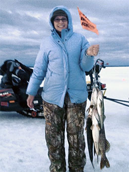 Thea Kirkwood caught a nice bunch of Houghton Lake pike and walleye during the Mark Martin Ice Fishing School