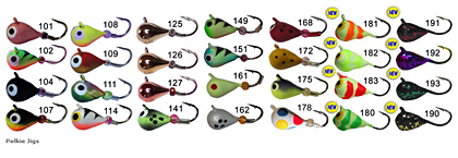 Skandia Pelkie Tungsten ice jigs color sheet includes many awesome colors including Wonderbread for a limited time.