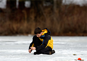 Ice fishing can be very basic and also popular with children