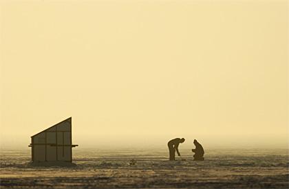 Michigan ice fishing scene with shanty